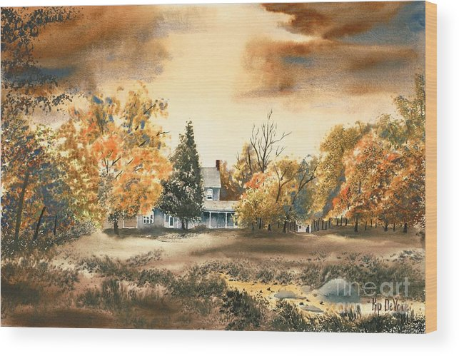 Autumn Sky No W103 Wood Print featuring the painting Autumn Sky No W103 by Kip DeVore