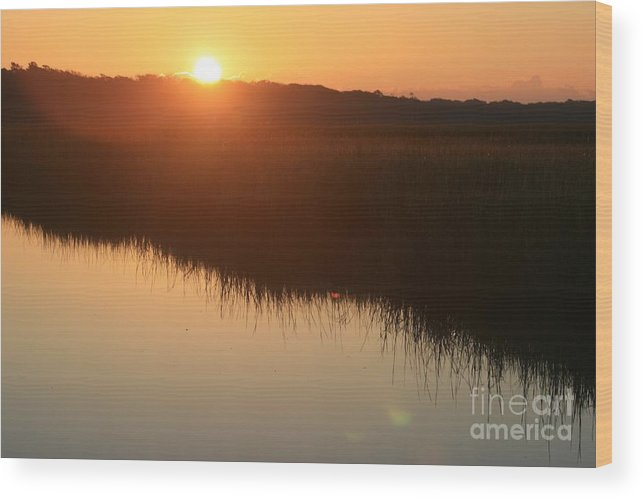 Sunrise Wood Print featuring the photograph Autumn Sunrise Over The Marsh by Nadine Rippelmeyer