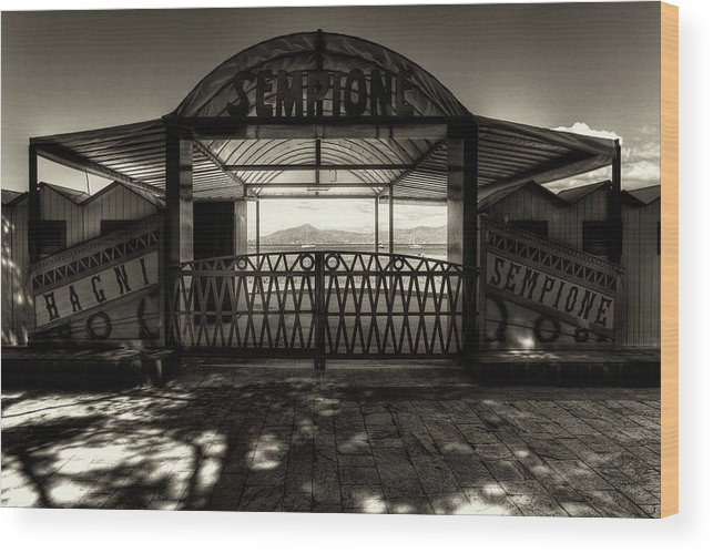 B&w Wood Print featuring the photograph Bagni Sempione by Roberto Pagani