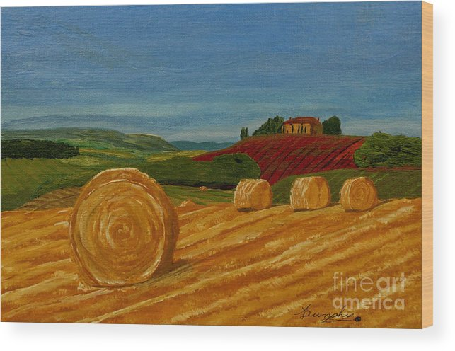 Hay Wood Print featuring the painting Field Of Golden Hay by Anthony Dunphy