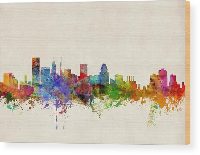 Watercolour Wood Print featuring the digital art Baltimore Maryland Skyline by Michael Tompsett