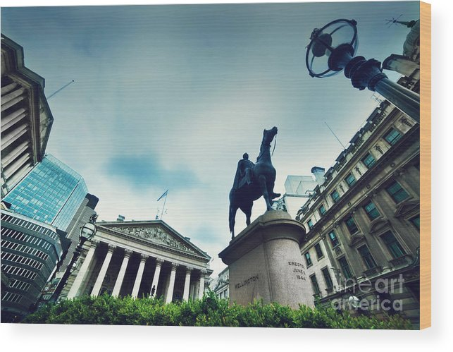 Finance Wood Print featuring the photograph Bank Of England The Royal Exchange And The Wellington Statue Londonuk by Michal Bednarek