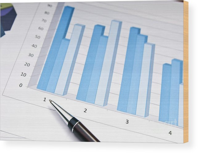 Accounting Wood Print featuring the photograph Bar Chart by Tim Hester