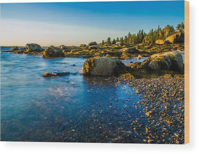 Sunset Wood Print featuring the photograph Bar Harbor Coast by Jeff Ortakales