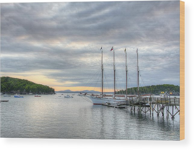 Bar Harbor Wood Print featuring the photograph Bar Harbor Sunrise by Donna Doherty