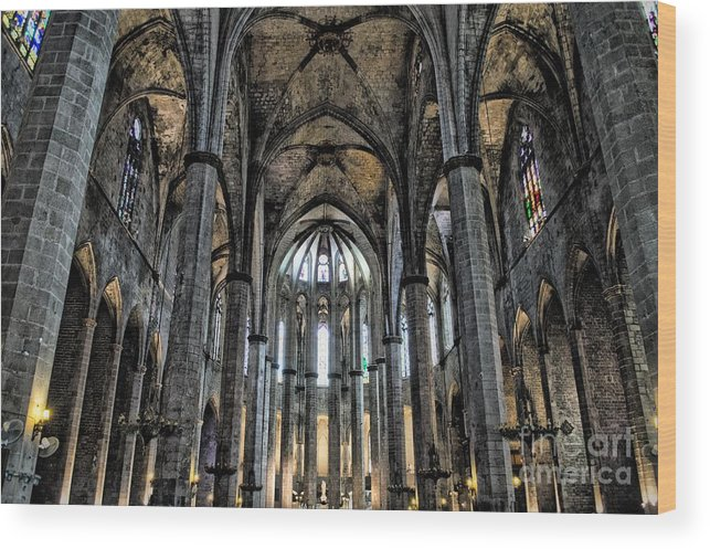 Wood Print featuring the photograph Barcelona Cathedral by Allen Hall