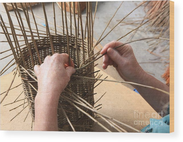Basket Wood Print featuring the photograph Basket Making by Paul Felix