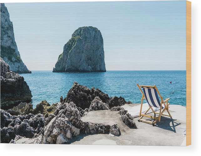 Scenics Wood Print featuring the photograph Beach Club La Fontanella, Capri by Arnt Haug / Look-foto