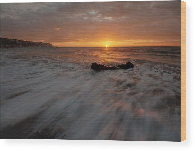 Beach Wood Print featuring the photograph Beach Sunrise by Damien Harrow
