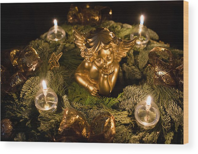 Angel Wood Print featuring the photograph Beautiful Advent Wreath by Frank Gaertner