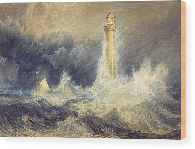 1819 Wood Print featuring the painting Bell Rock Lighthouse by JMW Turner