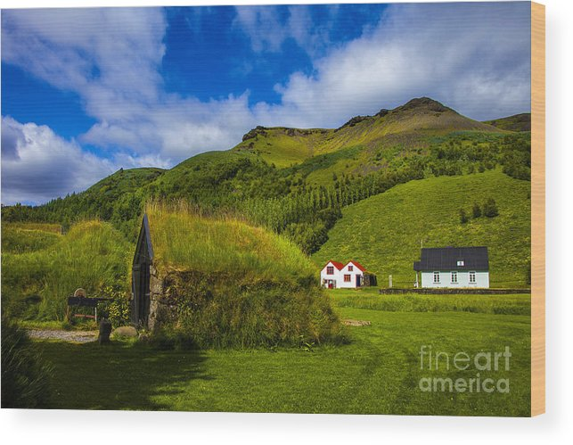 Iceland Turf Homes And Architecture Wood Print featuring the photograph Below The Hill by Rick Bragan