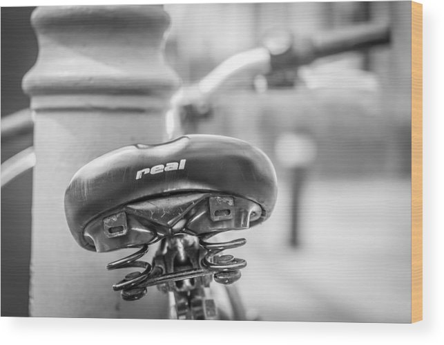 Bicycle Seat Wood Print featuring the photograph Bicycle Seat. by Gary Gillette