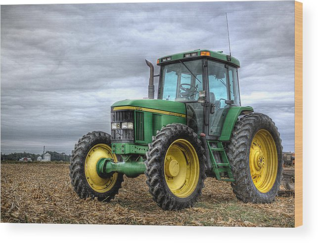 John Deere Wood Print featuring the photograph Big Green Tractor by Robert Jones