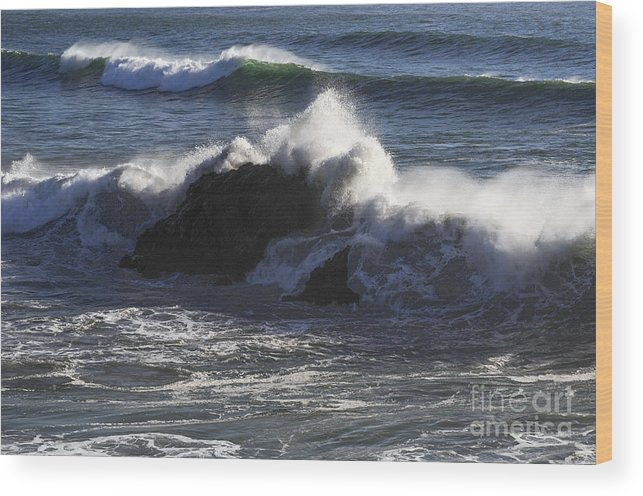Bodega Bay California Wave Waves Water Oceans Sea Seas Pacific Ocean Bays Rock Formation Formations Rocks Spray Shore Shores Shoreline Shorelines Coast Coasts Coastline Coastlines Waterscape Waterscapes Wood Print featuring the photograph Big Splash by Bob Phillips