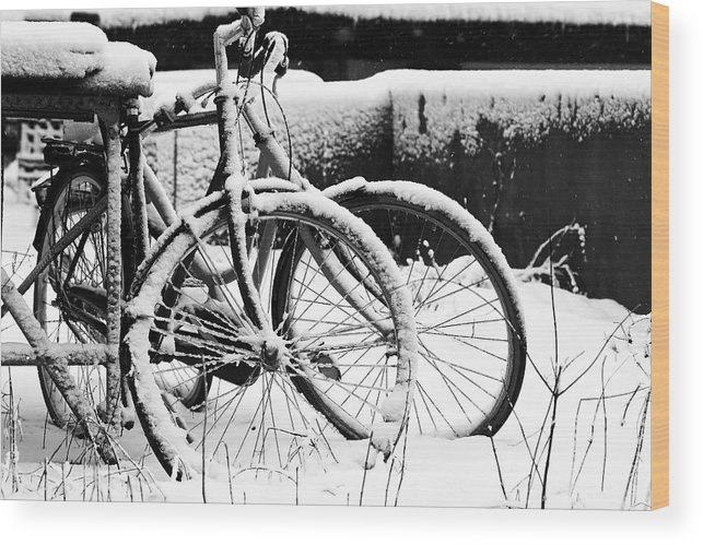 Bicycles Wood Print featuring the photograph Bike Under Snow by Jean Schweitzer