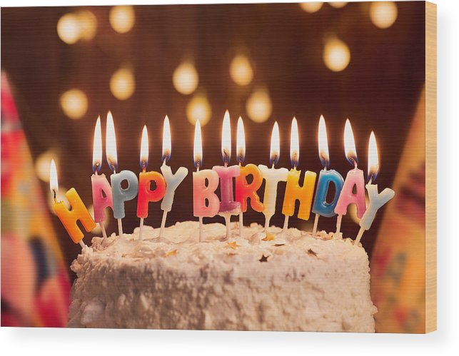 Birthday Cake With Candles.Birthday Cake With Candles Bright Lights Bokeh Celebration Wood Print