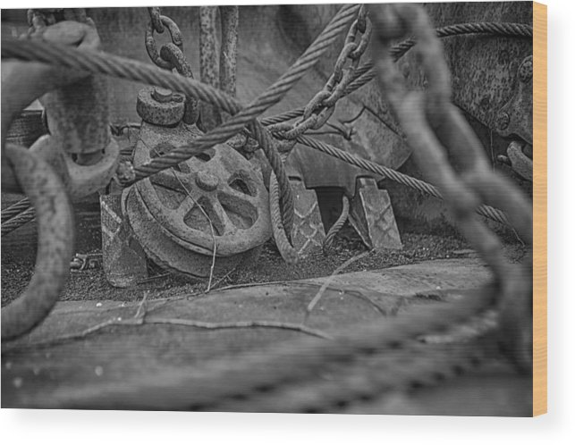 Rusty Gold Wood Print featuring the photograph Black And White Pulley by Gary Ezell