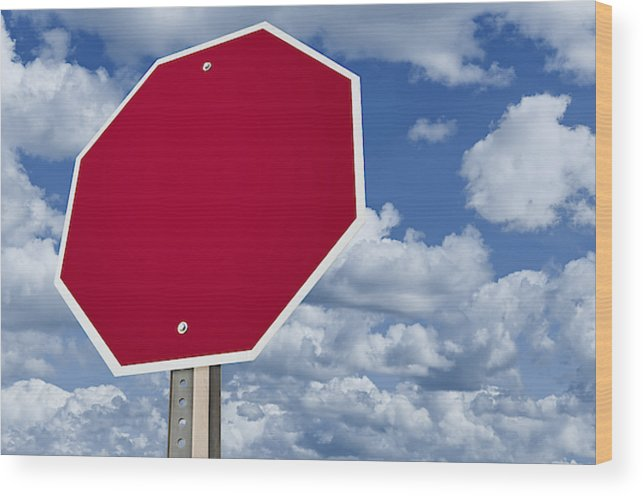 Blank Stop Sign Wood Print