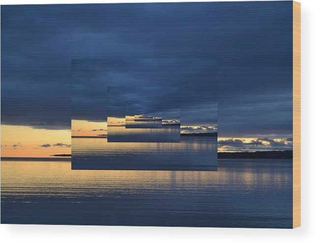 Abstract Wood Print featuring the photograph Blue And Yellow Light 2 by Lyle Crump