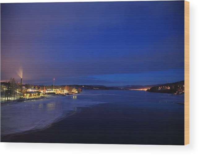 Blue Wood Print featuring the photograph Blue Dusk - Freezing River by Ulrich Kunst And Bettina Scheidulin