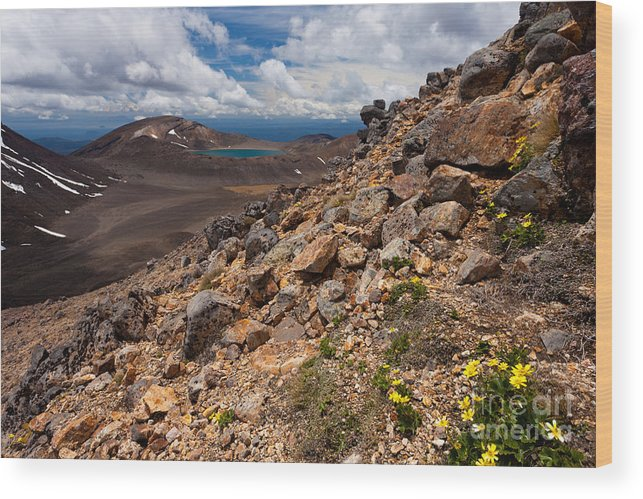 Mount Wood Print featuring the photograph Blue Lake Of Tongariro National Park New Zealand by Stephan Pietzko