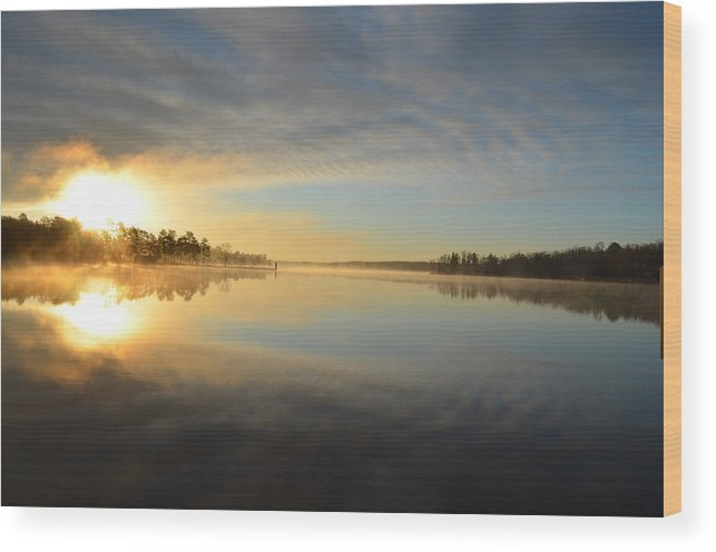 Water Wood Print featuring the photograph Blue Reflection by Katie Theien