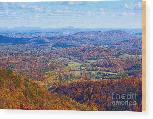 Blue Wood Print featuring the photograph Blue Ridge Parkway Overlook by Les Palenik