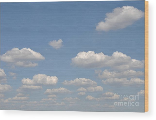 Blue Wood Print featuring the photograph Blue Sky Clouds by Luis Alvarenga