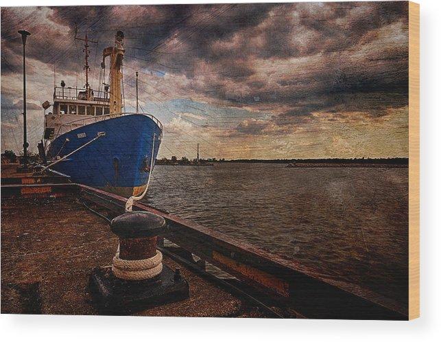 Landscape Wood Print featuring the photograph Boat In Marina by Nebojsa Novakovic