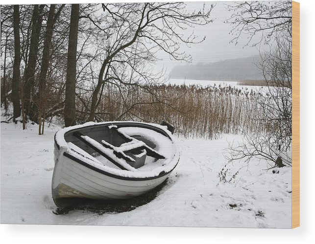 Landscapes Wood Print featuring the photograph Boat On Iced Lake In Denmark In Winter by Jean Schweitzer