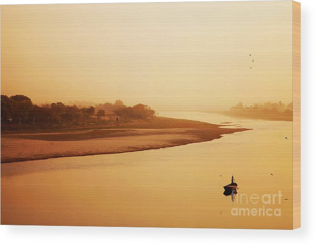 Travel Wood Print featuring the photograph Boat On Yamuna River by Sorin Rechitan