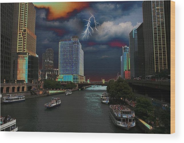Landscape Wood Print featuring the photograph Boat Ride On Chicago River by Paul Szakacs