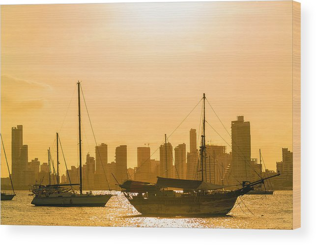 Colombia Wood Print featuring the photograph Boats And Skyscrapers by Jess Kraft
