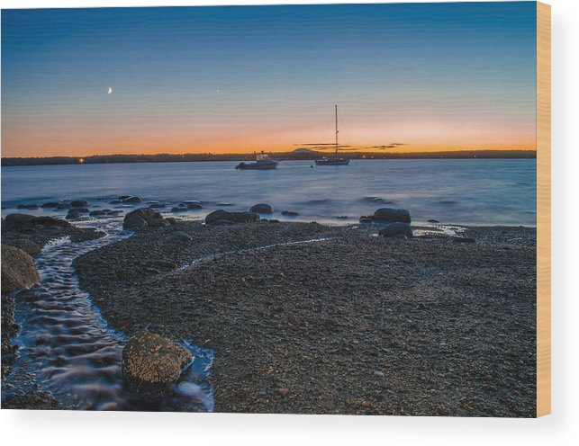 Sunset Wood Print featuring the photograph Boats At Sunset by Jeff Ortakales