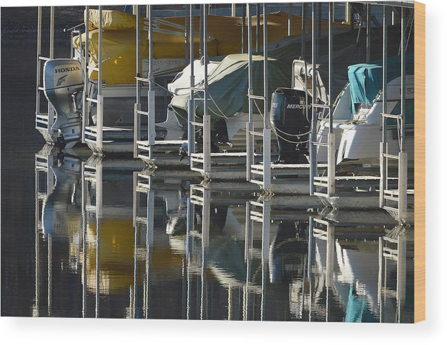 Marine Wood Print featuring the photograph Boats Docked For The Winter by Lena Wilhite