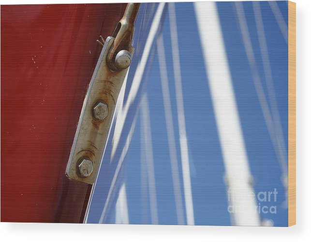 Wood Print featuring the photograph Boatyard Red White And Blue by Heidi Piccerelli