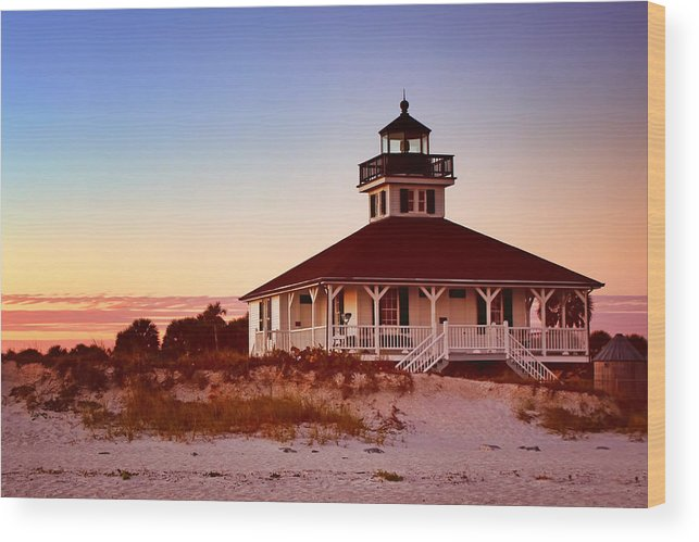Boca Grande Wood Print featuring the photograph Boca Grande Lighthouse - Florida by Nikolyn McDonald