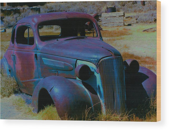 Barbara Snyder Wood Print featuring the digital art Bodie Plymouth by Barbara Snyder