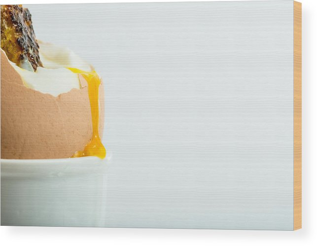 Egg Wood Print featuring the photograph Boiled Egg With Toast. by Gary Gillette