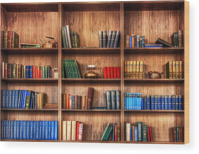 Book Wood Print featuring the photograph Book Shelf by Svetlana Sewell