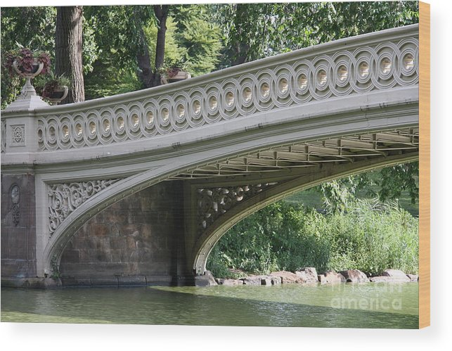 Bow Bridge Wood Print featuring the photograph Bow Bridge Texture - Nyc by Christiane Schulze Art And Photography