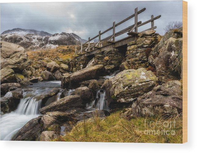 Waterfall Wood Print featuring the photograph Bridge To Idwal by Adrian Evans