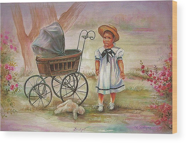 Bridget Was Not Happy When Mom Asked Her To Put Teddy In The Carriage Wood Print featuring the painting Bridget by Patricia Schneider Mitchell