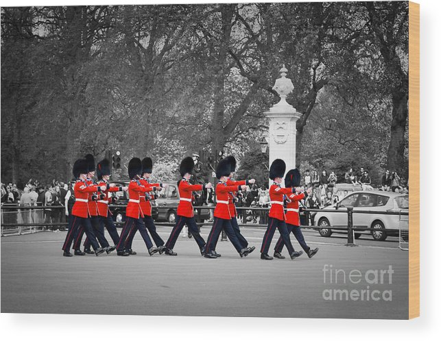 London Wood Print featuring the photograph British Royal Guards March And Perform The Changing Of The Guard In Buckingham Palace by Michal Bednarek