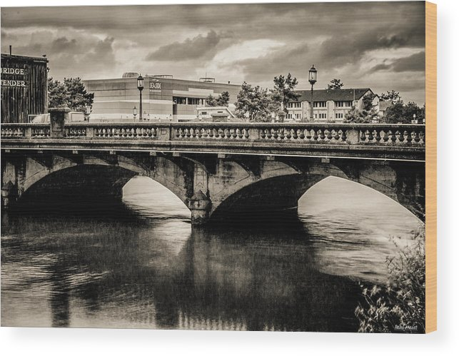 Bridge Wood Print featuring the photograph Broadway Bridge With Clouds by Paul Haist