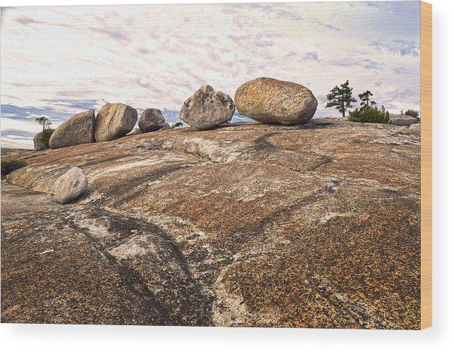 Bald Rock Dome Wood Print featuring the photograph Broken Glacial Erratics by Frank Wilson