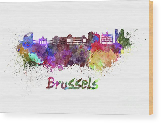 Brussels Skyline Wood Print featuring the painting Brussels Skyline In Watercolor by Pablo Romero
