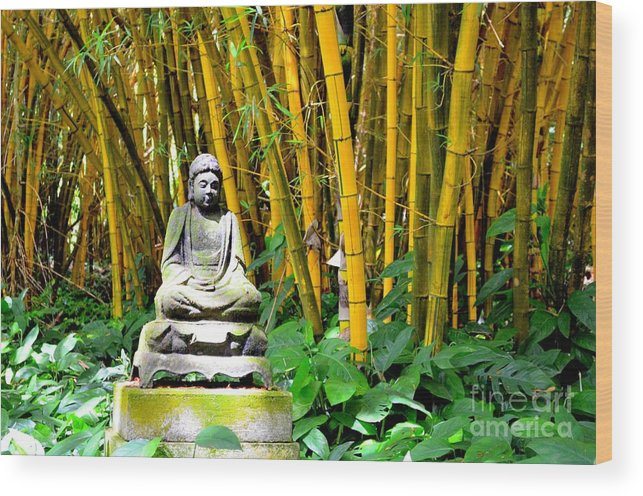 Buddha Wood Print featuring the photograph Buddha In The Bamboo Forest by Mary Deal