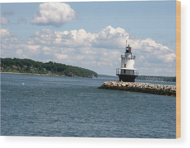 Lighthouse Wood Print featuring the photograph Bug Light Lighthouse 3 by Kathy Hutchins